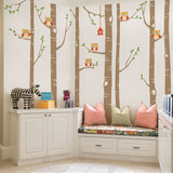 Birch Tree Wall Decal with Owls W1112