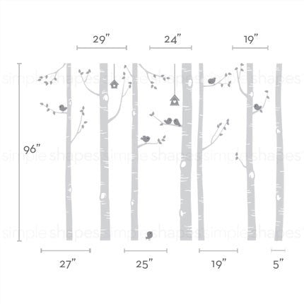 Birch Tree with Birds Wall Decal W1113
