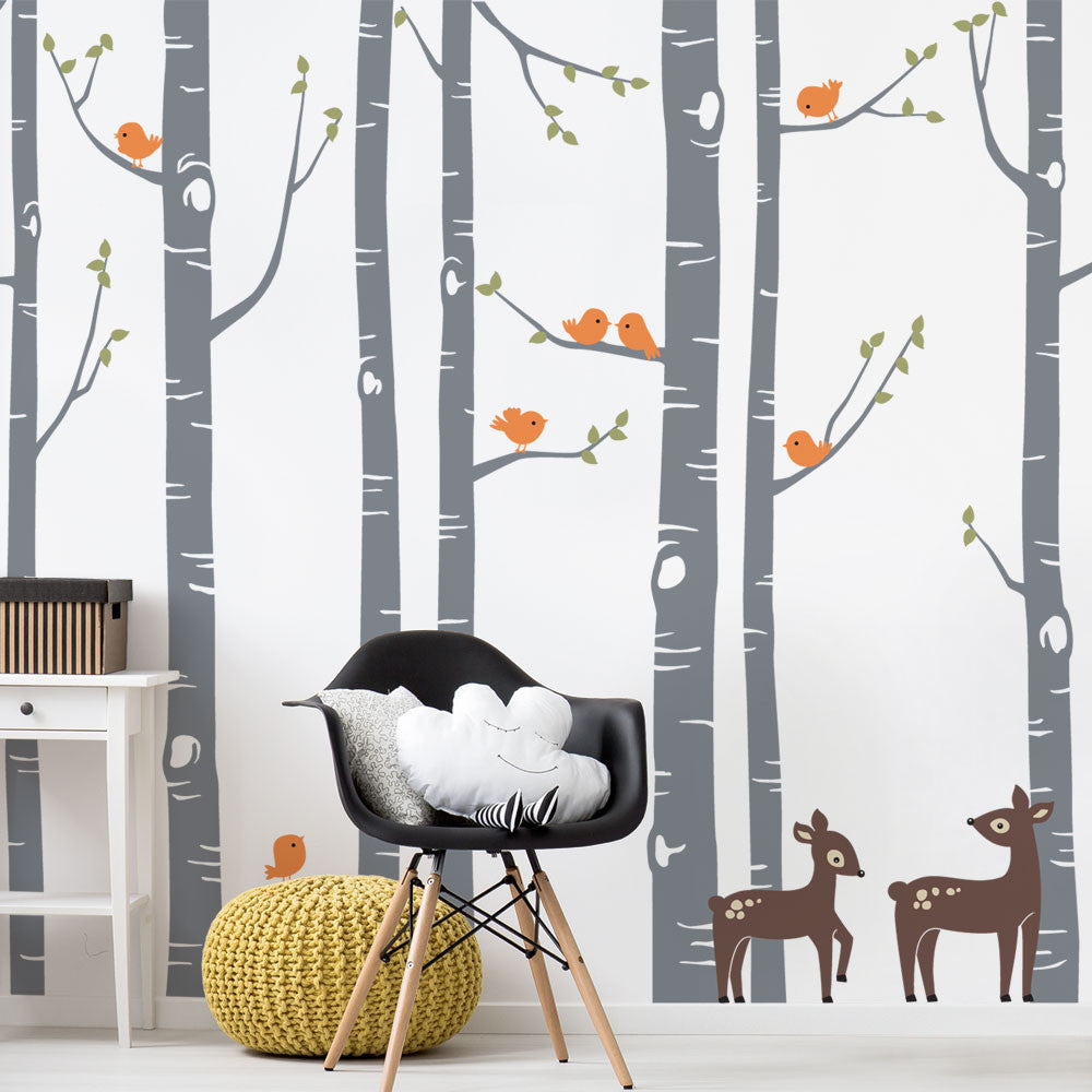 Birch Tree with Bird and Deer Wall Decal W1114