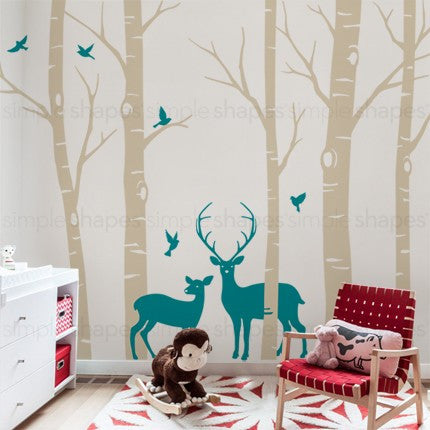 Birch Tree with Deer and Bird Wall Decals W1116