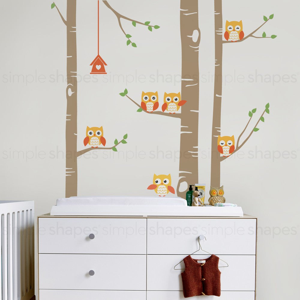 Birch Tree Wall Decal with Owls W1118