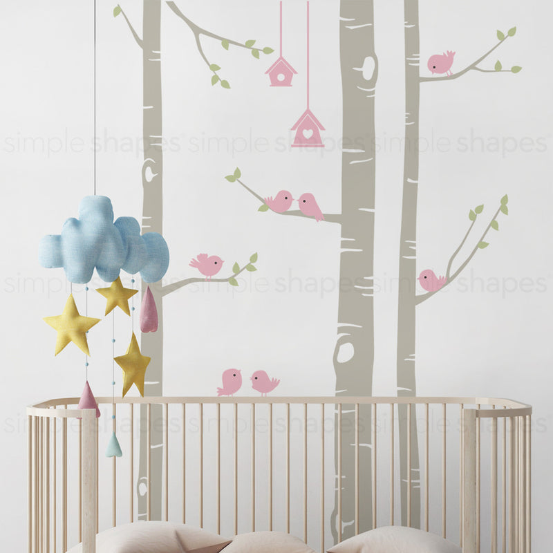 Birch Tree with Birds Wall Decal W1119