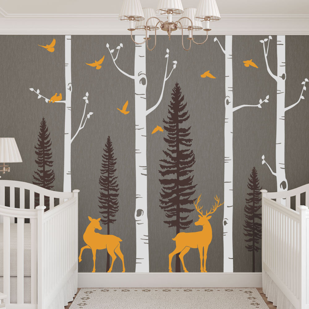 Birch Tree with Deer and Bird Wall Decals W1121