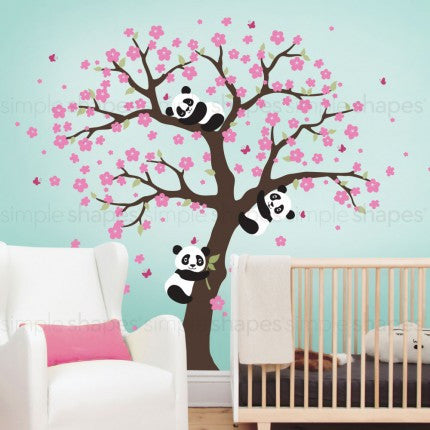 Panda and Cherry Blossom Tree Wall Decal