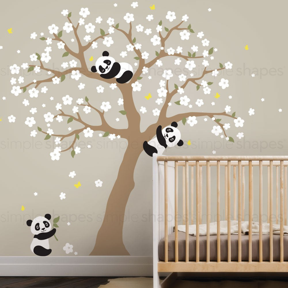 Panda And Cherry Blossom Tree Wall Decal Simple Shapes