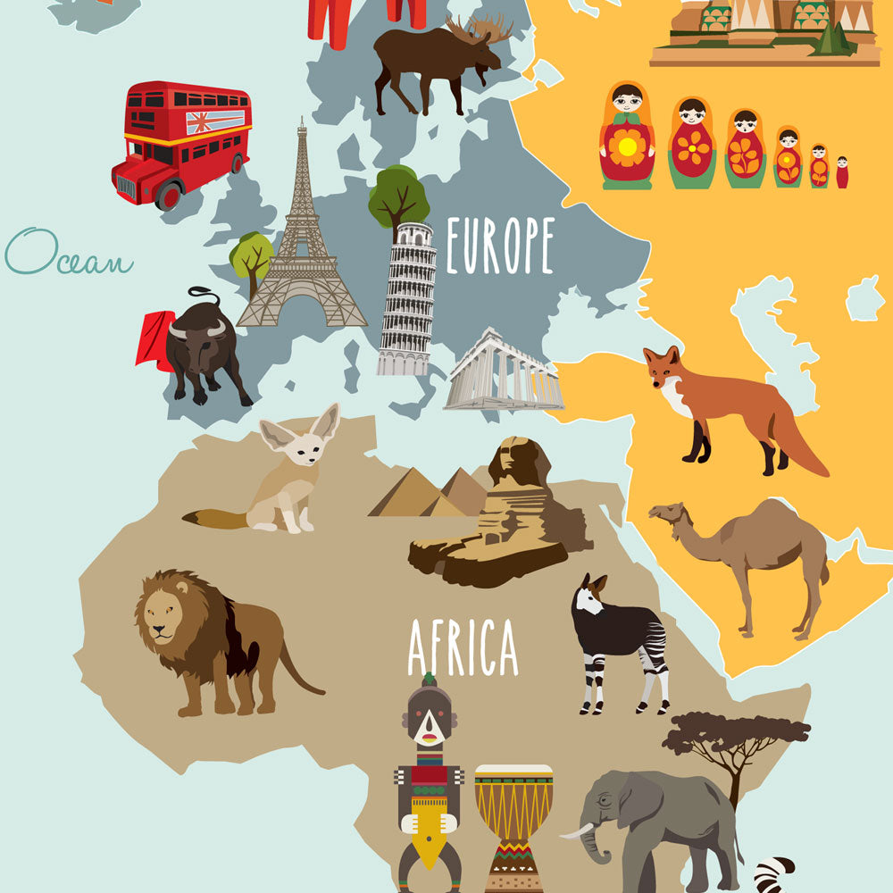 Childrens world map poster sticker simple shapes childrens world map poster sticker gumiabroncs Gallery