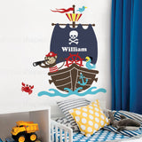Monkey with Pirate Ship Wall Decal Set - Personalized Name