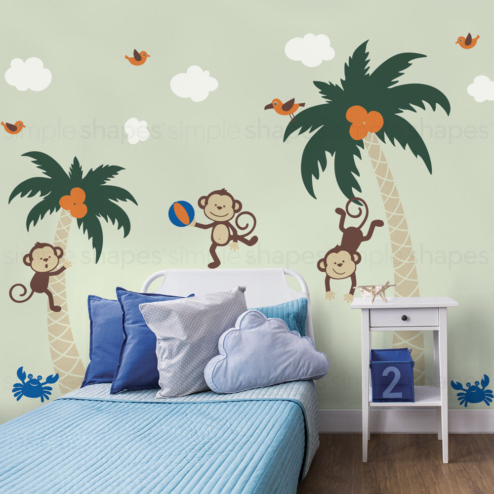 3 Monkeys with Palm Tree Wall Decal