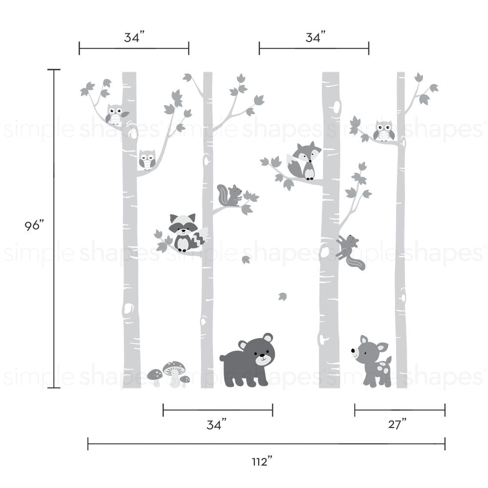 Birch Trees with Cute Forest Animals Wall Decal
