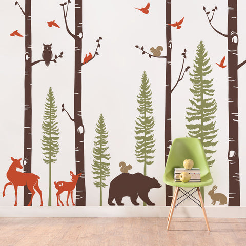 Birch Trees with Animals Wall Decal