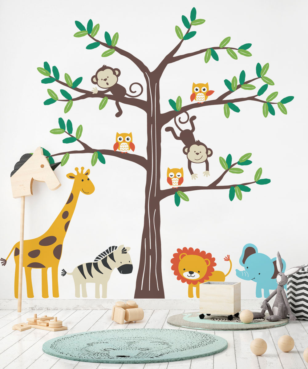 Safari Tree with Cute Animals Wall Decal