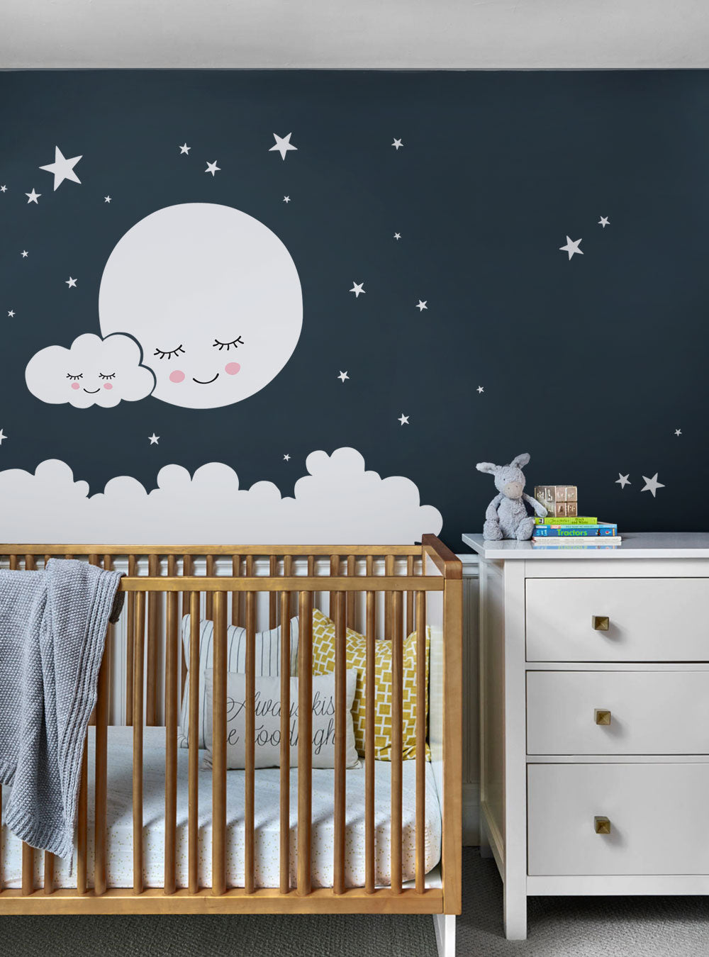 Moon, Clouds, and Stars Wall Decal