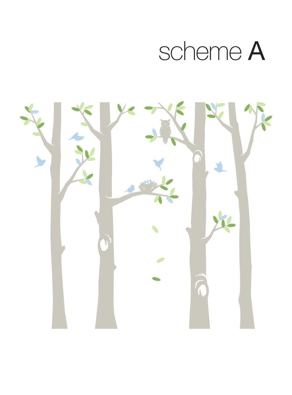 Nature Tree Scene with Baby Birds and Nest Wall Decal