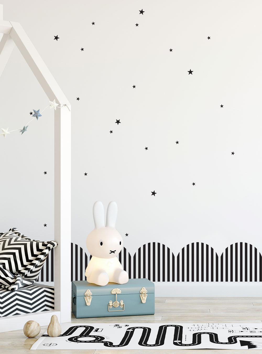 Striped Ribbons and Stars Vinyl Wall Decal