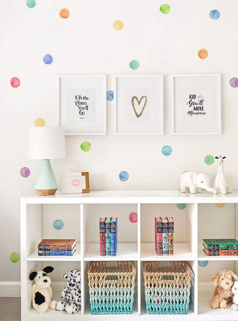 Watercolor Dots Wall Stickers - Rainbow