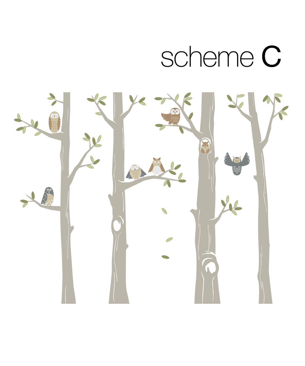 Friendly Forest Owls with Trees Wall Decal