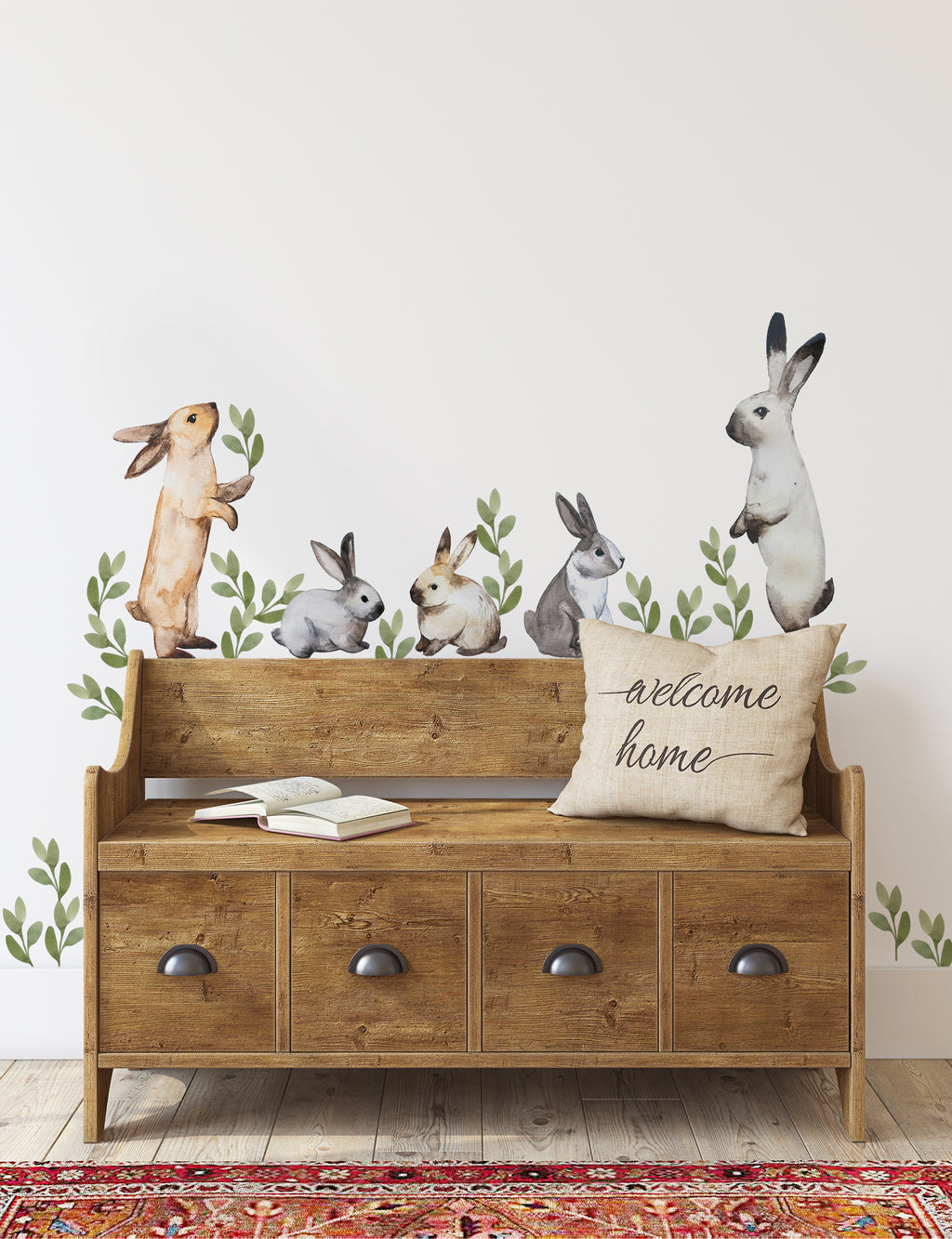 Bunnies and Leaves Watercolor Wall Stickers, Easter Peel and Stick Removable Stickers