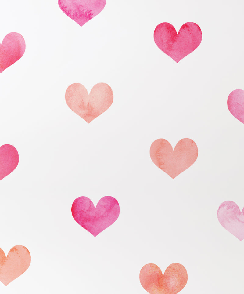 Watercolor Hearts Wall Stickers, Pink, Peel and Stick Wall Stickers