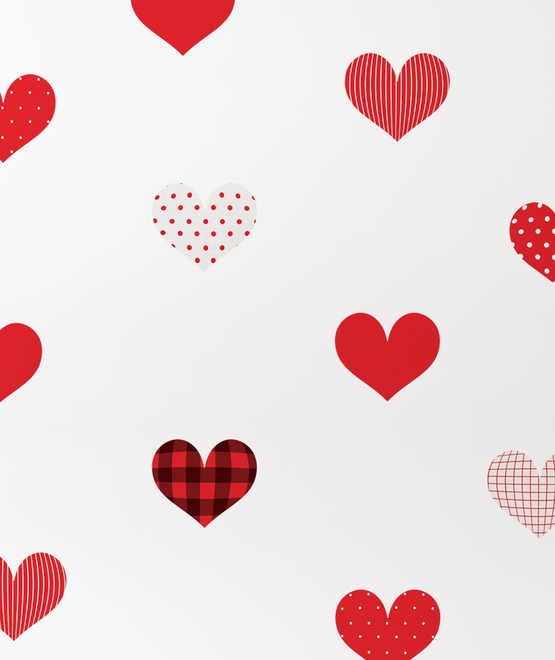 Patterned Hearts Wall Stickers, Red, Peel and Stick Wall Stickers
