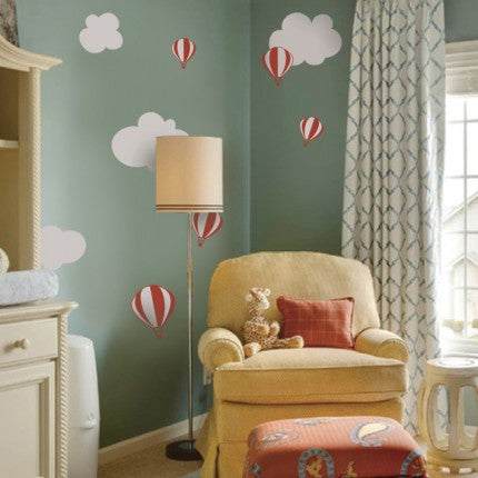 Hot Air Balloon Decals with Clouds
