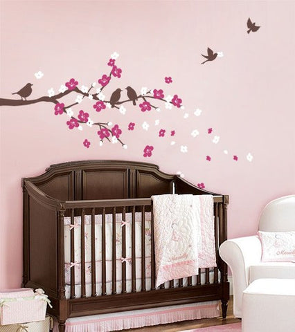 Cherry Blossom Branch Decal with Birds