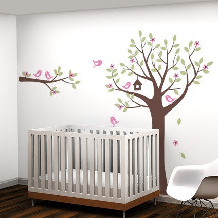 Flower Tree Wall Decal with Birds and Deer