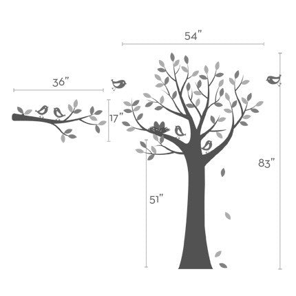 Tree Wall Decal with Bird Family