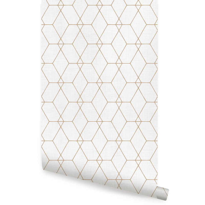 Hexagon Geometric Art Deco Lines Wallpaper - Peel and Stick