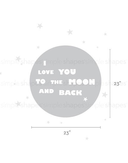 I Love You To The Moon And Back Quote Lettering Wall Decal