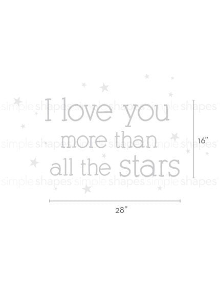 I Love You More Than All The Stars Quote Lettering Wall Decal