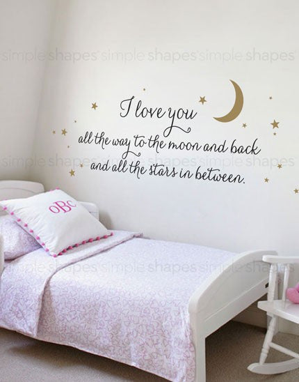 I Love You All The Way Quote Lettering Wall Decal Simple Shapes