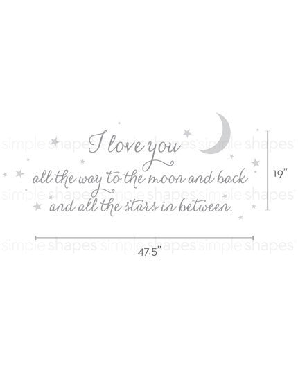 I Love You All The Way Quote Lettering Wall Decal