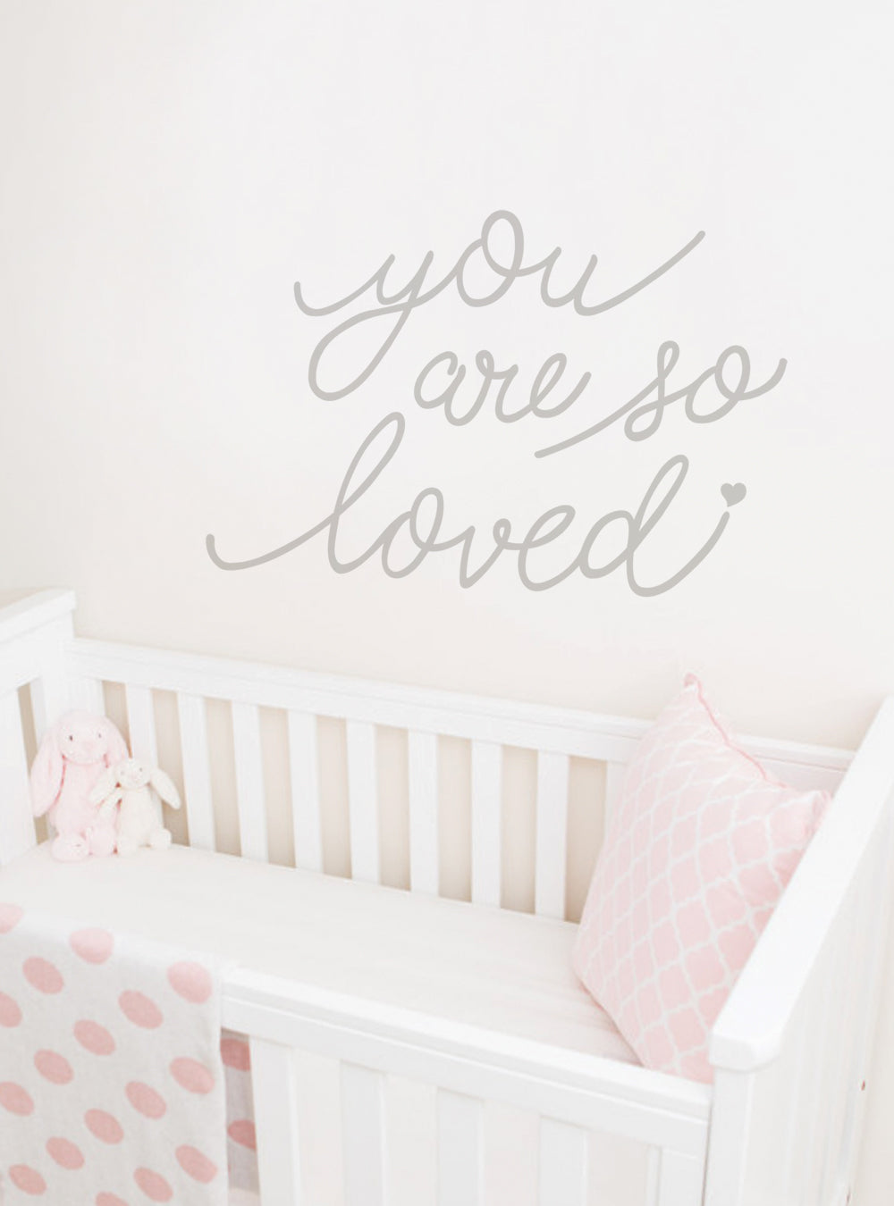 You Are So Loved Quote Wall Decal with Diamonds, Dots, and Heart