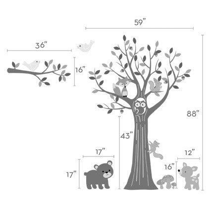 Tree with Forest Friends Wall Decal