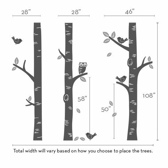 Birch Tree Wall Decal with Owl and Birds