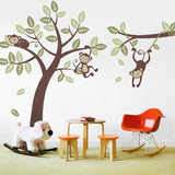 Three Monkey Tree Decal with Branch Vine