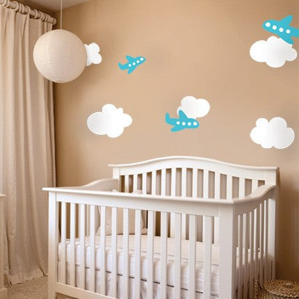 Airplane Wall Decals with Clouds