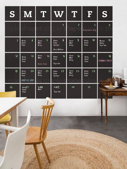 Chalkboard Calendar Wall Decal - Extra Large – Simple Shapes
