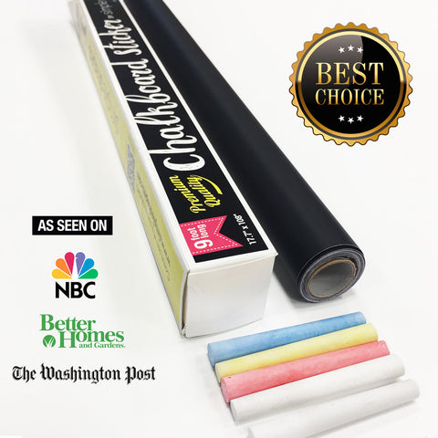 Chalkboard Contact Paper 9 foot roll (108 inches) + (5) Color Chalk Included