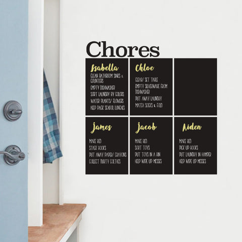 Chores Chart Chalkboard Wall Decal