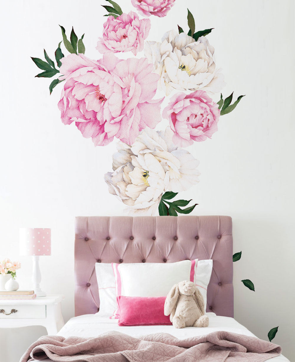 Peony Flower Wall Stickers Simple Shapes