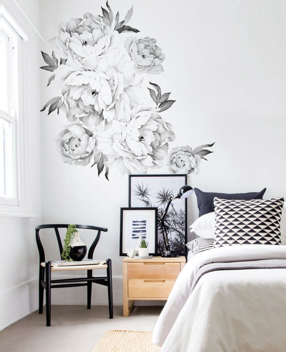 Peony Flower Wall Stickers - Simple Shapes
