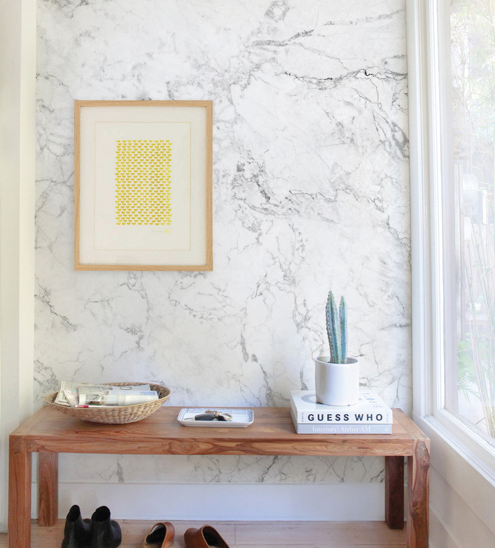 White Marble Wall Art Wallpaper - Peel and Stick