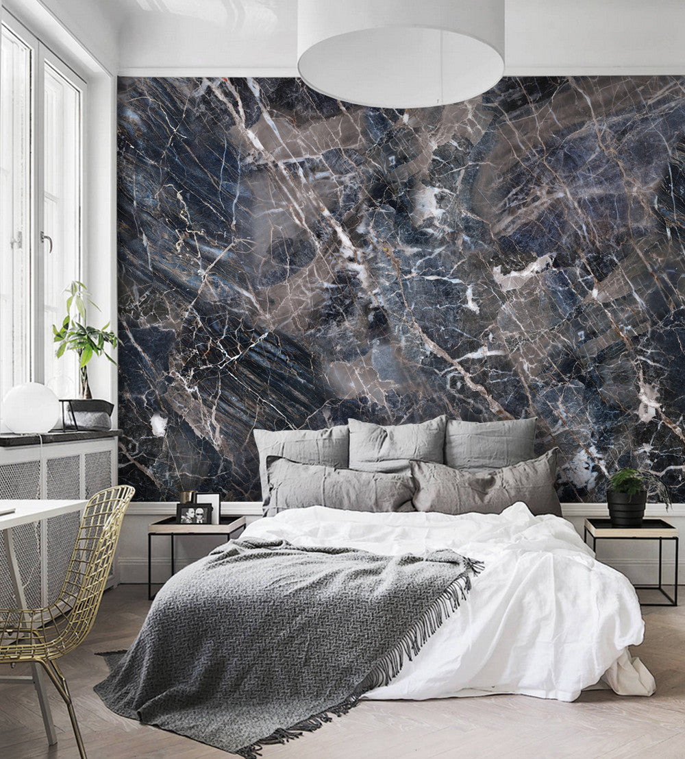 Navy Marble Wall Art Wallpaper Peel And Stick