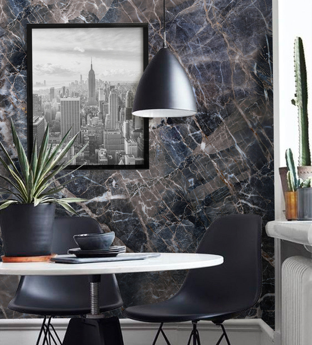 Navy Marble Wall Art Wallpaper Peel And Stick Simple Shapes