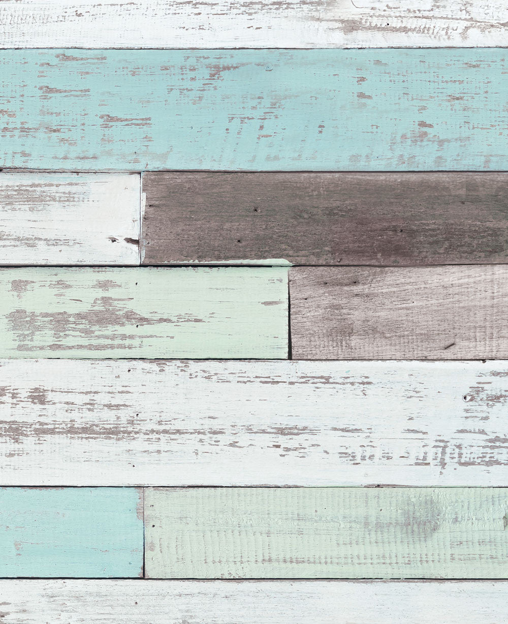 Reclaimed Painted Beach Wood Mural Wall Art Wallpaper - Peel and Stick