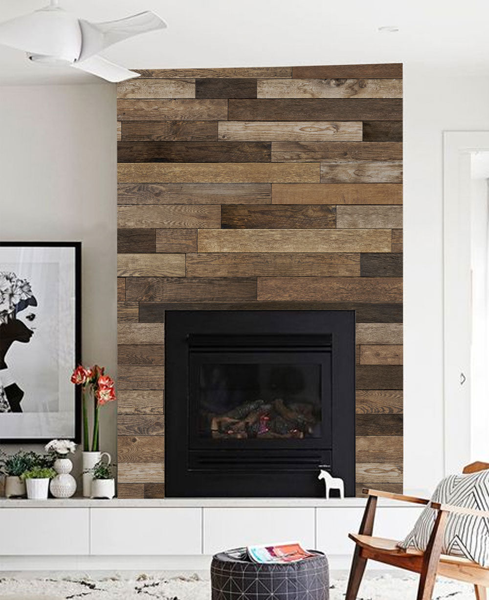 Reclaimed Wood Mural Wall Art Wallpaper - Peel and Stick