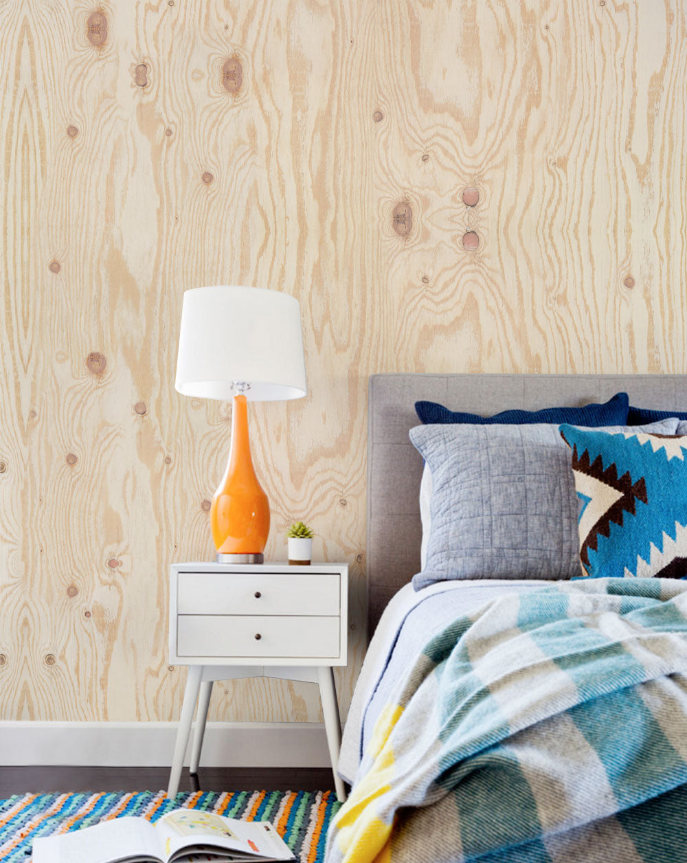 Plywood Accent Mural Wall Art Wallpaper - Peel and Stick