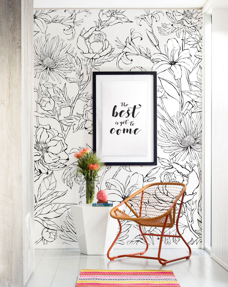 Botanical Garden Hand Drawn Flowers Mural Wall Art Wallpaper - Peel and Stick