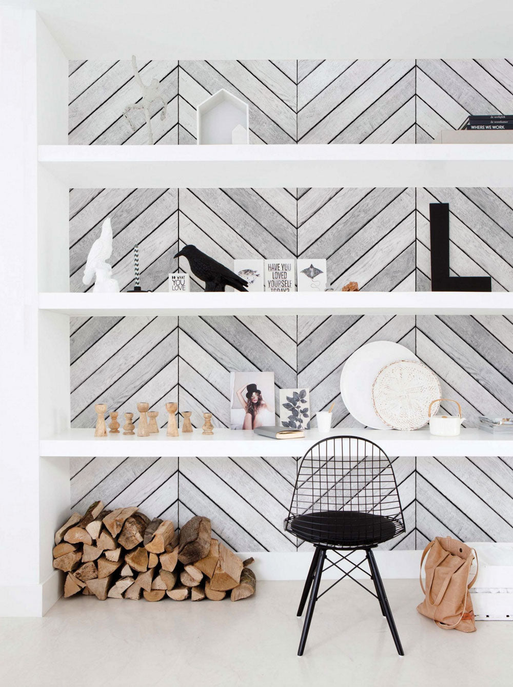 Chevron Grey White Wood Accent Mural Wall Art Wallpaper - Peel and Stick